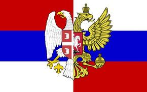 Картинка Флаг, Триколор, Герб, Россия, Сербия, Братство, Орлы
