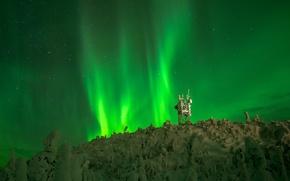 Картинка ночь, звёзды, северное сияние, Финляндия, Лапландия
