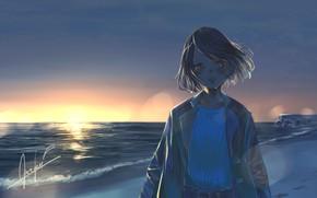 Картинка море, девушка, закат, боке