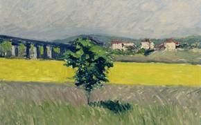 Картинка пейзаж, картина, Гюстав Кайботт, Gustave Cailleibotte, Луг рядом с Мостом в Аржантёй