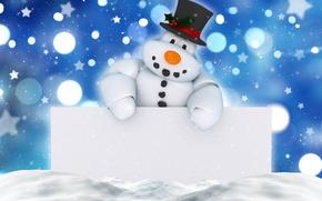Картинка Новый Год, Рождество, снеговик, winter, snow, merry christmas, decoration, xmas, holiday celebration