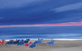 Картинка море, небо, пейзаж, берег, картина, лошади, всадники, Andre Brasilier, Нормандийский Пляж