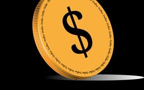 Картинка обои, деньги, вектор, Dollar, мелочь, обои на рабочий стол, векторная графика, Dollars, монетка, красивая монета