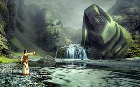 Картинка пейзаж, лицо, фантазия, магия, женщина, водопад, сон, мистика, фигура, статуя, шаман, божественный, духовные
