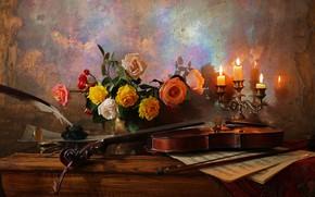 Картинка цветы, ноты, перо, скрипка, розы, свечи, ваза, столик, still life, чернильница, Andrey Morozov, Андрей Морозов