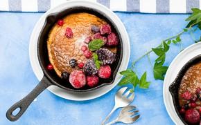 Картинка ягоды, кекс, сковорода
