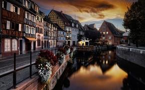 Картинка ночь, Франция, дома, канал, Кольмар