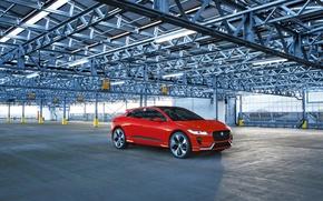 Картинка красный, Jaguar, гараж, Ягуар, Red, Metallic, Concep, I-Pace