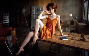 Картинка секси, поза, диван, модель, стулья, портрет, макияж, фигура, платье, прическа, книга, шатенка, ножки, красотка, сидит, ...