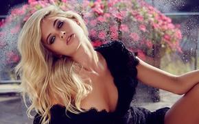 Картинка girl, model, lips, hair, look, blonde, black dress, decollete, Megan Irwin