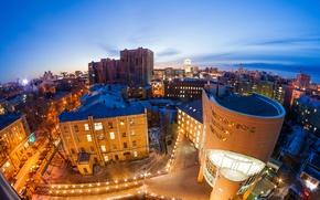 Обои Воронеж, небо, Voronezh, вечер, Россия, огни, панорама, дома, улицы, вид сверху
