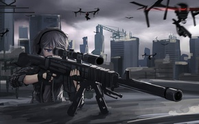 Картинка girl, gun, weapon, anime, sniper, asian, japanese, drone