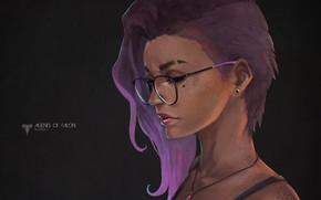 Картинка девушка, волосы, очки, art, overwatch, sombra