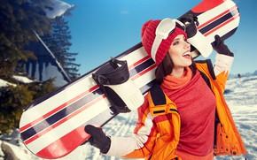 Обои зимние виды спорта, wallpaper., боке, экипировка, лыжная база, природа склон, женщина, настроение, красивая, тренировка, snowboard, ...