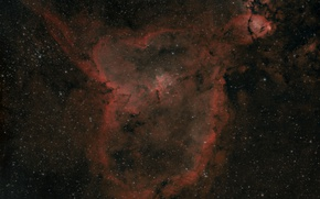 Обои в рукаве, Сердце, в созвездии, Млечный Путь, Кассиопея., эмиссионная туманность, в галактике, Персея, Находится