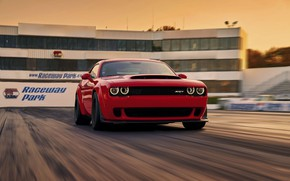 Картинка Challenger, Red, sportcar, race, speed, musclecar, track, SRT, Demon, 2017
