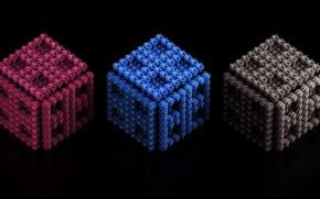 Картинка кубики, трио, чёрный фон