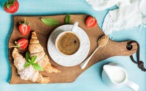 Картинка ягоды, кофе, завтрак, сливки, клубника, coffee cup, strawberry, breakfast, круассан, croissants
