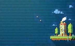 Картинка Небо, Минимализм, Дом, Птицы, Фон, Арт, Пиксели, Fez, Pixel art Fez