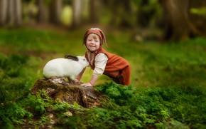 Картинка зелень, трава, улыбка, пень, мальчик, кролик, малыш, друзья, комбинезон, ребёнок, боке