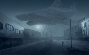 Обои небо, свет, ночь, город, туман, фантазия, луна, улица, апокалипсис, человек, окна, здания, монстр, рыба, акула, ...