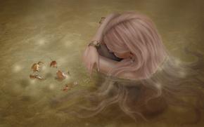Картинка листья, вода, девушка, лицо, волосы, сидит