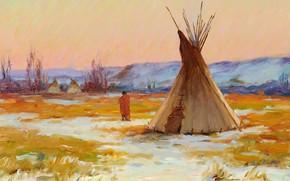 Картинка Joseph Henry Sharp, Encampment, on the Yellowstone