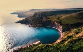 Обои побережье, скалы, панорама, плато, вид сверху, море