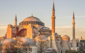 Картинка солнце, рассвет, башни, храм, мечеть, архитектура, Стамбул, Турция, купола