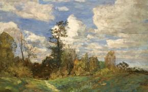 Картинка облака, деревья, картина, Лесной Пейзаж, Эжен Буден, Eugene Boudin