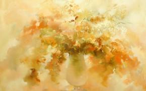 Картинка осень, цветы, ваза, Натюрморт, жёлтый фон, Сфумато, сувенирная живопись, Петренко Светлана