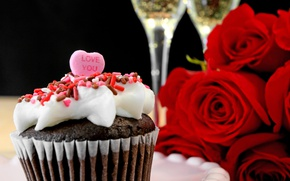 Картинка розы, love, heart, romantic, cupcake, roses, champagne, valentine`s day