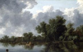 Картинка пейзаж, лодка, картина, Salomon van Ruysdael, Саломон ван Рёйсдал, Речная Сцена