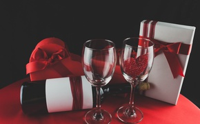 Картинка вино, бокалы, red, love, romantic, hearts, valentine's day, gift