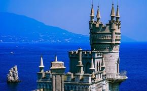 Обои море, солнце, горы, скала, синева, побережье, дымка, крепость, Крым, Ласточкино гнездо, Чёрное море