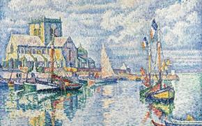 Обои дом, корабль, картина, парус, моряцкий пейзаж, Поль Синьяк, пуантилизм, Барфлёр