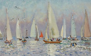 Картинка лодка, картина, яхта, парус, регата, Андре Гамбург, Andre Hambourg, Хорошая Погода на Море
