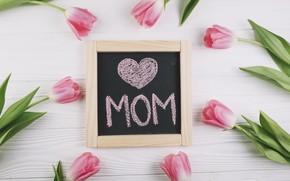 Картинка цветы, тюльпаны, love, розовые, fresh, pink, flowers, tulips, spring, tender, mom, mother's Day