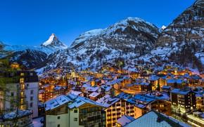 Картинка город, гора, Европа, альпы, Церматт, швейцарская, маттерхорн