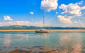 Картинка облака, побережье, небо, яхта, Великобритания, Aberdyfi, солнечно