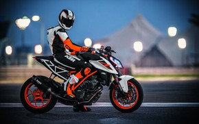 Обои lights, red, orange, track, racer, uniform, KTM 1290 Super Duke