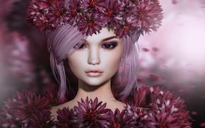Обои лепестки, фон, лицо, взгляд, цветы