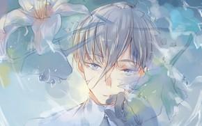 Картинка цветы, портрет, аниме, арт, Houseki no Kuni