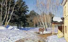 Картинка пейзаж, лошадь, масло, холст, Март, 1895, Исаак ЛЕВИТАН, хрестоматийный