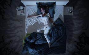 Картинка dream, woman, bed, Nightmare, restless dreams