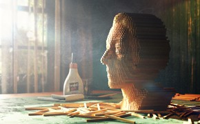 Картинка лицо, голова, рейки, клей, wooden portrait
