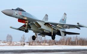 Обои ОКБ Сухого, Су-35С, истребитель поколения 4++, российский многоцелевой сверхманёвренный, Серийный истребитель для ВКС России