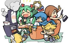 Картинка аниме, арт, малыши, Vocaloid, Вокалоид, персонажи, кучка