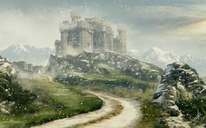 Картинка снег, горы, камни, замок, Winter is coming
