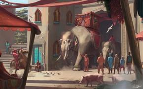 Картинка животные, люди, здания, Elephants, Ride Through The Town